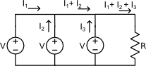 current from parallel voltage sources