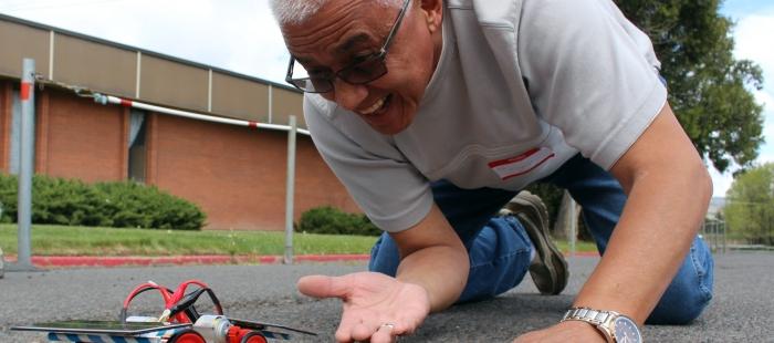 Bonanza HS Teacher with Solar Car